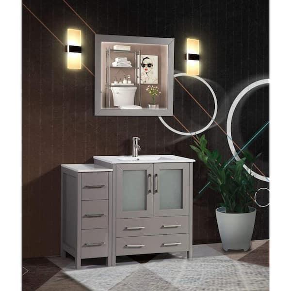 Vanity Art Brescia 42 In W X 18 In D X 36 In H Bathroom Vanity In Grey With Single Basin Vanity Top In White Ceramic And Mirror Va3030 42g The Home Depot