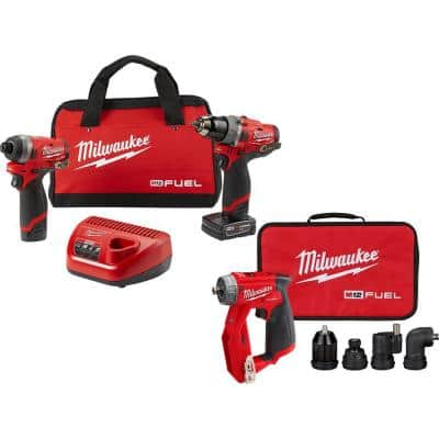 M12 FUEL 12-Volt Cordless Hammer Drill & Impact Driver Combo Kit with M12 FUEL 4-in-1 Installation 3/8 in. Drill Driver