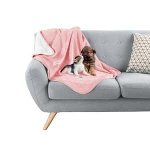 Pink Waterproof Pet Plush Lap Throw Blanket
