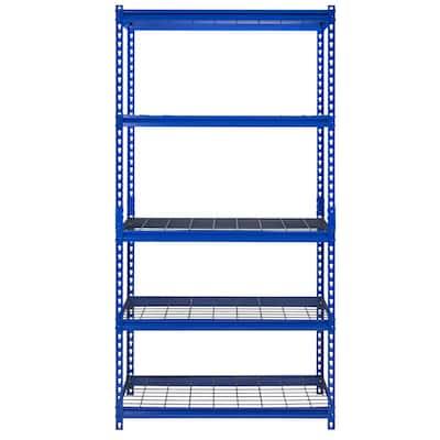 Z-Beam Blue 5-Tier Boltless Steel Wire Shelving Unit (36 in. W x 72 in. H x 18 in. D)