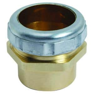 1-1/4 in. O.D. Compression x 1-1/4 in. O.D. Male Sweat Brass Waste Connector with Die Cast Nut in Rough Finish