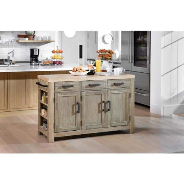 Osp Home Furnishings Cocina Kitchen Island Grey Wash With Wood Top And Frame Bp 4211 0607 The Home Depot