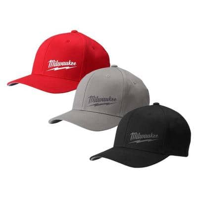 Small/Medium Black, Gray, Red Fitted Hats (3-Pack)