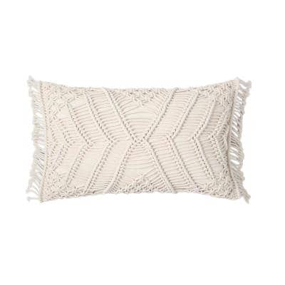 Hand Crafted Crochet Ivory 12 in. x 20 in. Throw Pillow