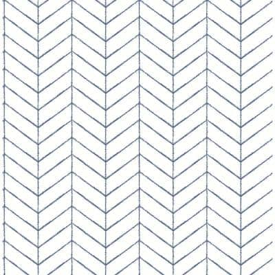 Bison Navy Herringbone Paper Strippable Roll (Covers 56.4 sq. ft.)