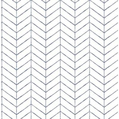 Bison Navy Herringbone Navy Wallpaper Sample