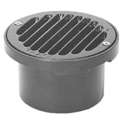 4 in. Round ABS Floor Drain with Cast Iron Strainer