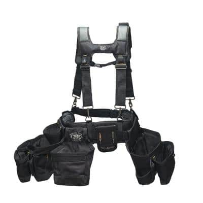 Ballistic Framers 3 Pouch Tool Storage Suspension Rig with LoadBear Suspenders in Black