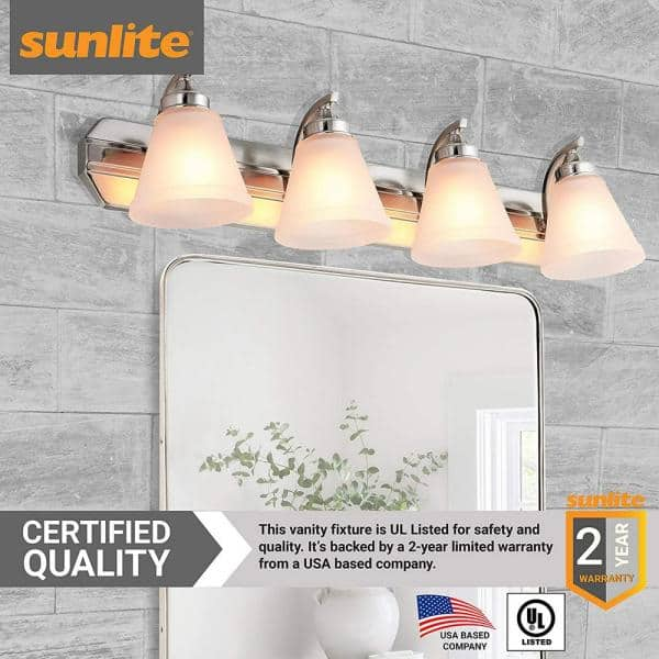 Sunlite 30 In 4 Light Brushed Nickel Bath Vanity Light Fixture With Bell Shape Frosted Glass Shade Hd02330 1 The Home Depot
