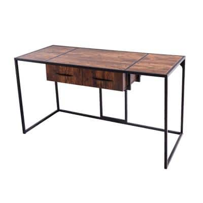 55 in. Rectangle Brown Wood 2-Drawer Executive Desk with Storage