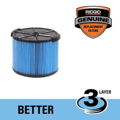 3-Layer Fine Dust Pleated Paper Filter for 3 to 4.5 Gal. RIDGID Wet/Dry Shop Vacuums