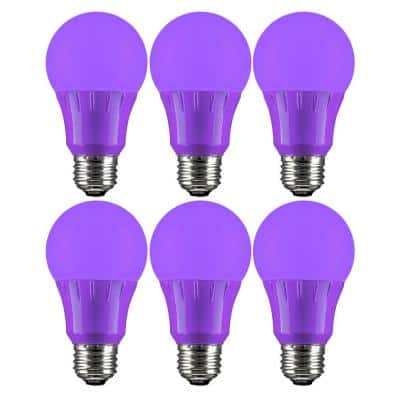 25-Watt Equivalent A19 Non-Dimmable UL Listed E26 Medium Base Colored Purple LED Light Bulb (6-Pack)