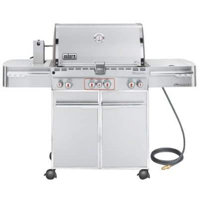 Summit S-470 4-Burner Natural Gas Grill in Stainless Steel with Built-In Thermometer and Rotisserie