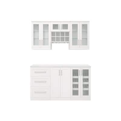 Home Bar 21 in. White Cabinet Set (7-Piece)