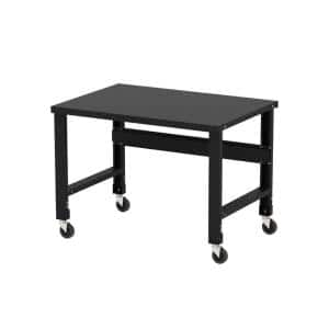 34 in. x 48 in. Black Painted Heavy-Duty Adjustable Height Workbench with Caster Kit