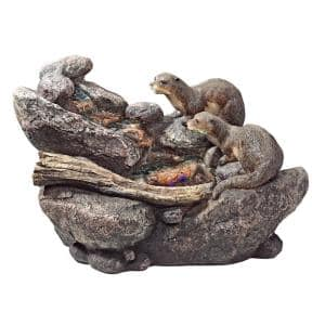 Curious Sea Otters Stone Bonded Resin Garden Fountain