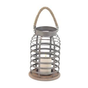 Grey Metal Farmhouse Candle Lantern