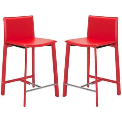 Janet 24 in. Red Cushioned Bar Stool (Set of 2)