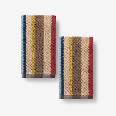 Textured Stripe Cotton Fingertip Towel (Set of 2)