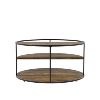 Henvale 35.38 in. Black Round Wood Coffee Table