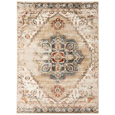 Allure Beige/Gold 7 ft. 9 in. x 9 ft. 9 in. Classic Medallion Area Rug