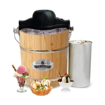 4 Qt. Old Fashioned Pine Bucket Electric or Manual Ice Cream Maker