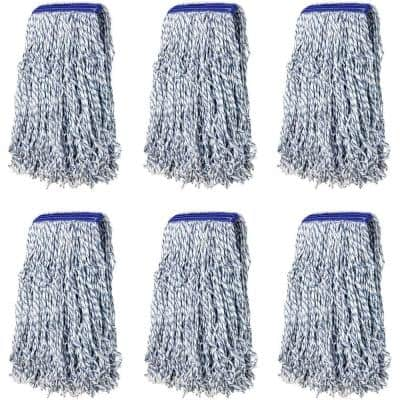 Nano Microbial Cut End Finish Mop, 1.25 in. Universal Headband, Blue, (Pack of 6)
