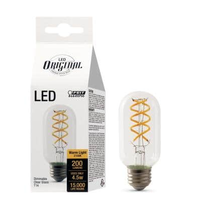 25W Equivalent T14 Dimmable LED Clear Glass Vintage Edison Light Bulb With Spiral Filament Warm White