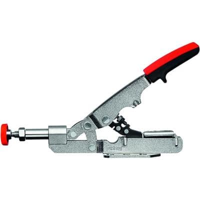 Auto-Adjust .375 in. Capacity Toggle Clamp with Vertical Handle and Flanged Base, 3/4 in. Throat Depth