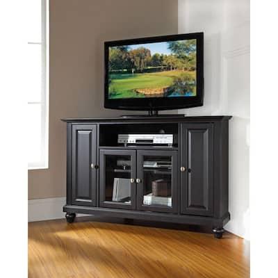 Cambridge 48 in. Black Wood Corner TV Stand Fits TVs Up to 52 in. with Storage Doors