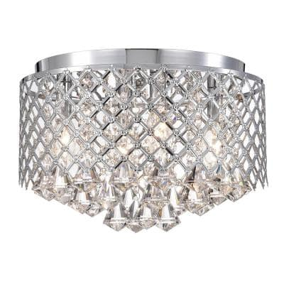 Clara 4-Lights Chrome Flush Mount with Lattice Drum Shade and Crystals