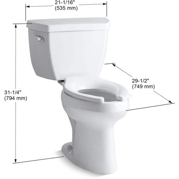 Kohler Highline Classic 2 Piece 1 6 Gpf Single Flush Elongated Toilet In White Seat Not Included K 3493 0 The Home Depot