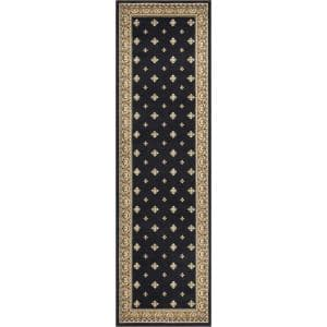 Ankara Pin Dot Black 2 ft. x 7 ft. Runner Rug