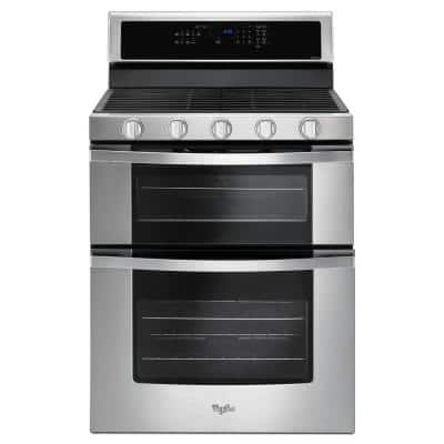 6.0 cu. ft. Double Oven Gas Range with Center Oval Burner in Stainless Steel