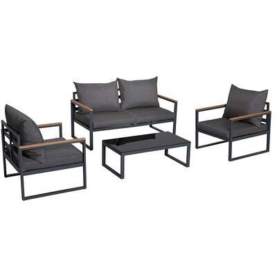 4-Piece Aluminum Outdoor Patio Conversation Set with Black Cushions