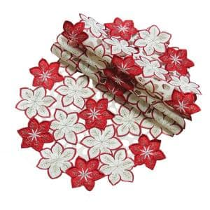 16 in. Candy Cane Round Poinsettia Embroidered Cutwork Holiday Doily (4-Set)