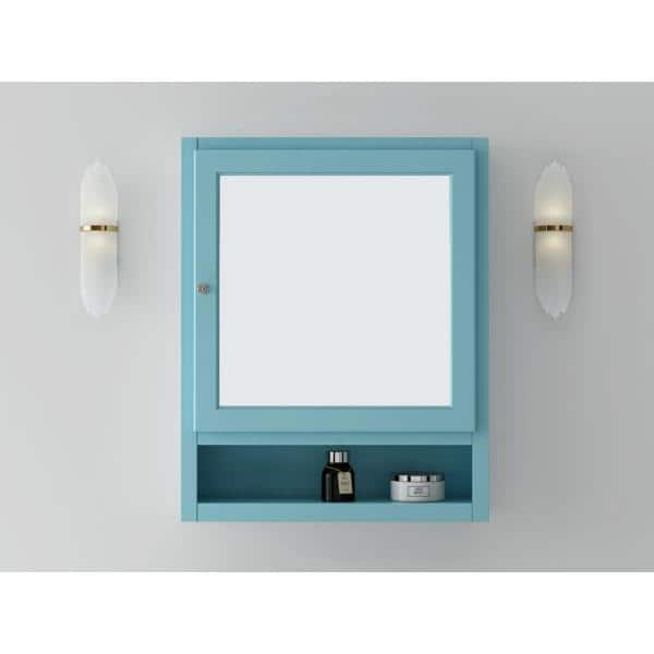 Home Decorators Collection Ridgemore 24 In W Mirrored 30 In H X 24 In W X 6 5 In D Framed Rectangular Bathroom Vanity Mirror In Sea Glass Md M1765 The Home Depot