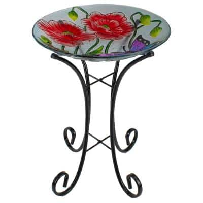 21 in. Butterfly and Carnations Hand Painted Glass Outdoor Birdbath