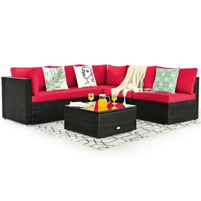 6-Piece Rattan Patio Furniture Set Cushioned Sofa Coffee Table Garden in Red Cushion