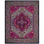 Bellagio Gray/Pink 8 ft. x 10 ft. Border Area Rug