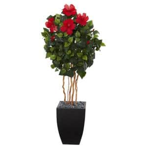 4.5 in. Hibiscus Artificial Tree in Black Washed Planter