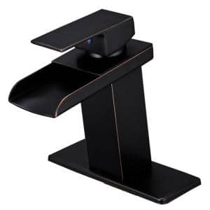 Waterfall Single Hole Single-Handle Bathroom Sink Faucet With Supply Line and Escutcheon in Oil Rubbed Bronze