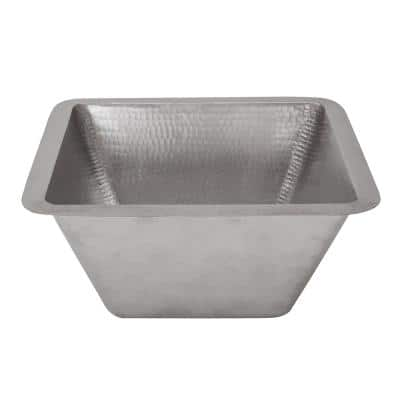 Nickel 16 Gauge Copper 15 in. Dual Mount Rectangle Bar Sink with 3.5 in. Drain Opening