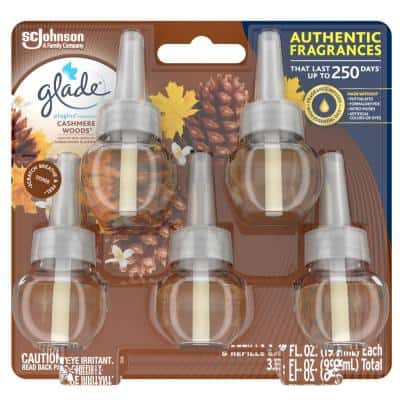 3.35 fl. oz. Cashmere Woods Scented Oil Plug In Air Freshener Refill (5-Pack)