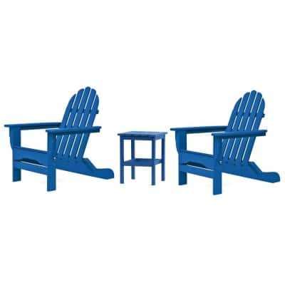 Icon Royal Blue 3-Piece Plastic Folding Adirondack Chat Set