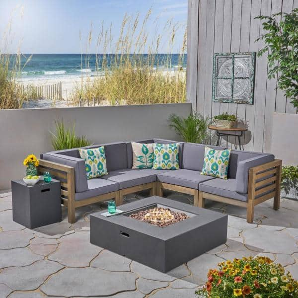Noble House Oana Grey 7 Piece Wood Patio Fire Pit Sectional Seating Set With Dark Cushions 55026 The Home Depot