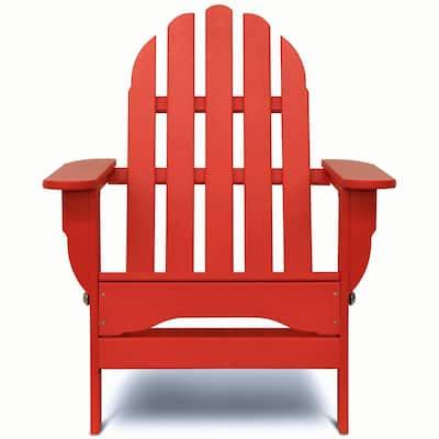 Icon Bright Red Plastic Folding Adirondack Chair