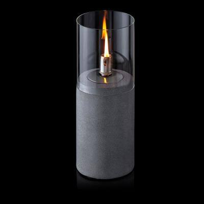 14 in. Tall Indoor/Outdoor Gray Cylindrical Cement Oil Lamp