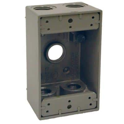 1-Gang Gray Weatherproof Box with Five 1/2 in. Outlets