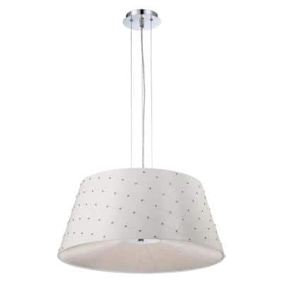 3-Light Chrome Pendant with White Leather Shade